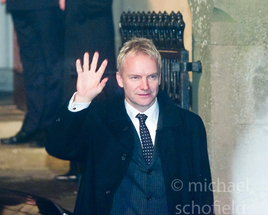 Sting arrives at Dornoch Cathedral. Madonna and Guy Ritchie's christening of their baby Rocco at Dornoch Cathedral in Scotland on the night of 12th December 2000.