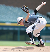 DETROIT - MAY 15: Brother Rice pitcher xxx xxx (x) throws against Divine Child during the Catholic League A-B baseball championship game Friday, May 15, 2015 at Comerica Park in Detroit. (Photo by Bryan Mitchell/Special to The Detroit News)