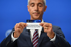 NYON, SWITZERLAND - Friday, July 10, 2020: Former Juventus and Borussia Dortmund player Paulo Sousa draws out the card of Real Madird and Manchester City during the UEFA Champions League and UEFA Europa League 2019/20 draws for the Quarter-final, Semi-final and Final at the UEFA headquarters, The House of European Football. (Photo Handout/UEFA)
