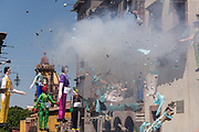 Paper doll effigies explode in the Plaza Allende during the Burning of Judas Easter-time ritual marking the end of Holy Week April 1, 2018 in San Miguel de Allende, Mexico. The effigies are filled with fireworks and explode to the entertainment of the crowd in a good natured symbolic renewal and clearing out demons.