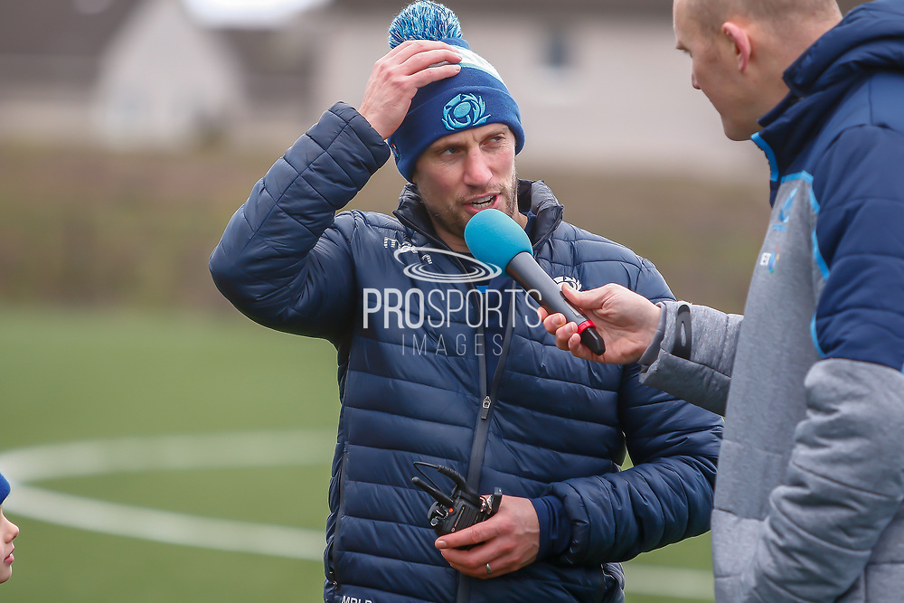 A few words on the session following the training session and press conference for Scotland Rugby at Clydebank Community Sports Hub, Clydebank, Scotland on 13 February 2019.