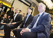 Google Chairman Eric Schmidt (R), South Korean Go master Lee Se-dol (2nd R) and Demis Hassabis (3rd R), CEO of the AlphaGo developer Google DeepMind, attend a pre-match press conference in Seoul, South Korea, March 8, 2016. The historic human-computer showdown in the ancient board game begins on Wednesday in Seoul, with the winner's prize of US$1 million at stake. The matches will be also held at the same place on Thursday, Saturday and Sunday and will end next Tuesday. The prize will be donated to UNICEF and other charities, if AlphaGo wins, local media reported. Photo by Lee Jae-Won (SOUTH KOREA)  www.leejaewonpix.com