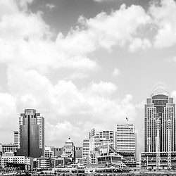 Panoramic picture of Cincinnati skyline in black and white including Great American Ballpark, Great American Insurance Group Tower, PNC Tower building, Omnicare building, US Bank building, Carew Tower building, Scripps Center building, and US Bank Area. Panoramic picture ratio is 1:3.