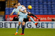 Sunderland striker Ashley Fletcher (9) andBolton Wanderers defender Mark Beevers (5)) during the EFL Sky Bet Championship match between Bolton Wanderers and Sunderland at the Macron Stadium, Bolton, England on 20 February 2018. Picture by Craig Galloway.