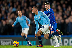 December 8, 2018 - London, Greater London, England - Gabriel Jesus of Manchester City and Jorginho of Chelsea during the Premier League match between Chelsea and Manchester City at Stamford Bridge, London, England on 8 December 2018. (Credit Image: © AFP7 via ZUMA Wire)