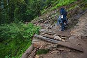 A hiker on thek to Kheerganga in Parvati Valley, Kullu, Himachal Pradesh, India