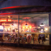 "My take on Edward Hopper's famous ""Nighthawks"" painting. This one was a photo of a steamed up coffee shop on a cold night in Shoreditch, London"