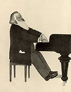 Johannes Brahms (1833-1897) German composer, at the piano.  Halftone.