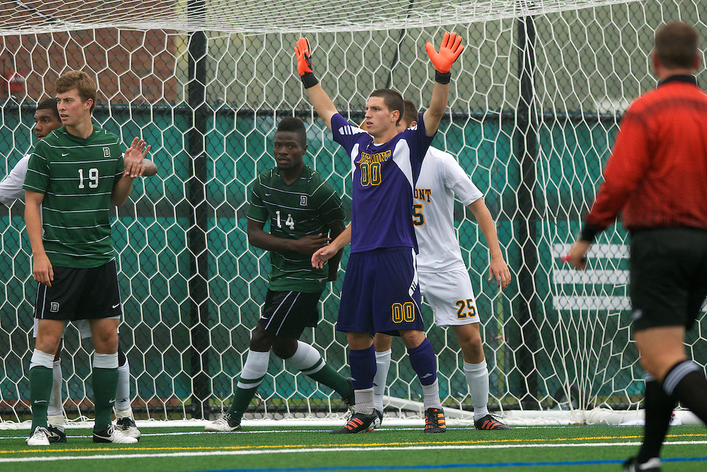 Catamounts goalie Conor Leland (00) in action during the men's soccer game between the Dartmouth Big Green and the Vermont Catamounts at Virtue Field on Wednesday afternoon October 3, 2012 in Burlington, Vermont.