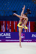 Salos Anastasiia during qualifying at clubs in Pesaro World Cup at Adriatic Arena on April 13, 2018. Anastasiia born on February 18 ,2002 in Barnaul. She is a rhythmic gymnast member of the Belarusian National Team..