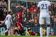 Nathan Ake (Bournemouth) and Aaron Ramsdale (GK) (Bournemouth) save the ball during the Premier League match between Bournemouth and West Ham United at the Vitality Stadium, Bournemouth, England on 28 September 2019.