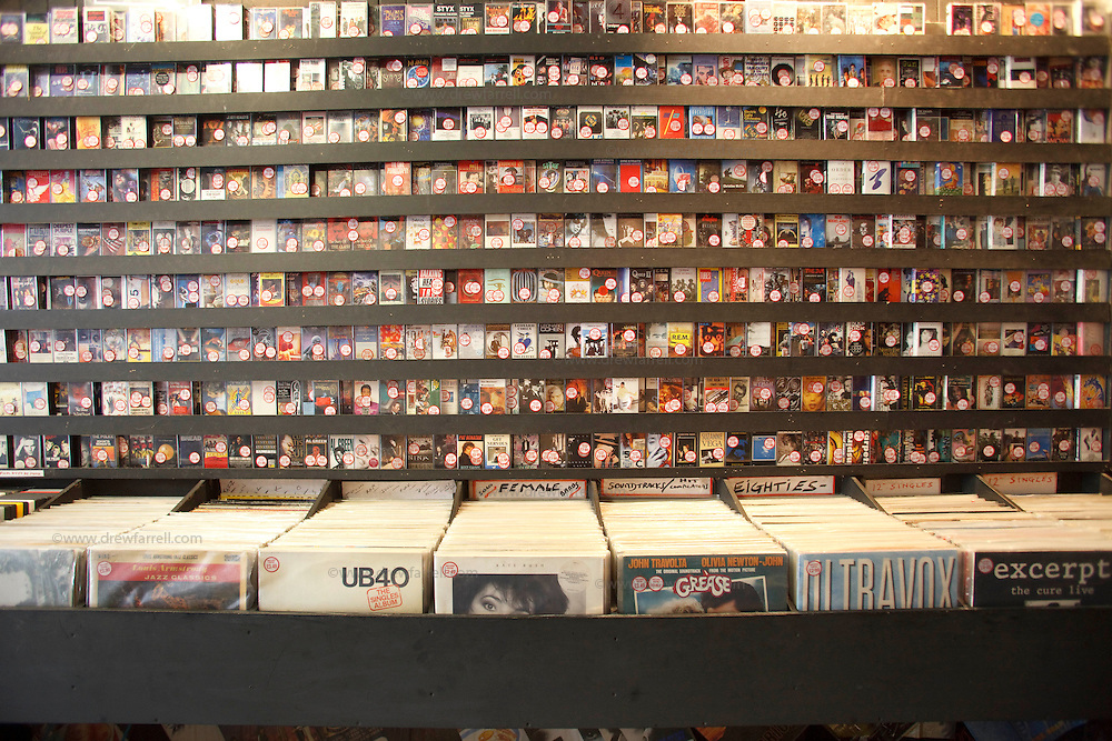 Picture shows : Cassette tapes at Albion Street Record shop..Merchant City Area, Glasgow. Travel guide feature..Picture Drew Farrell. tel : 07721-735041......