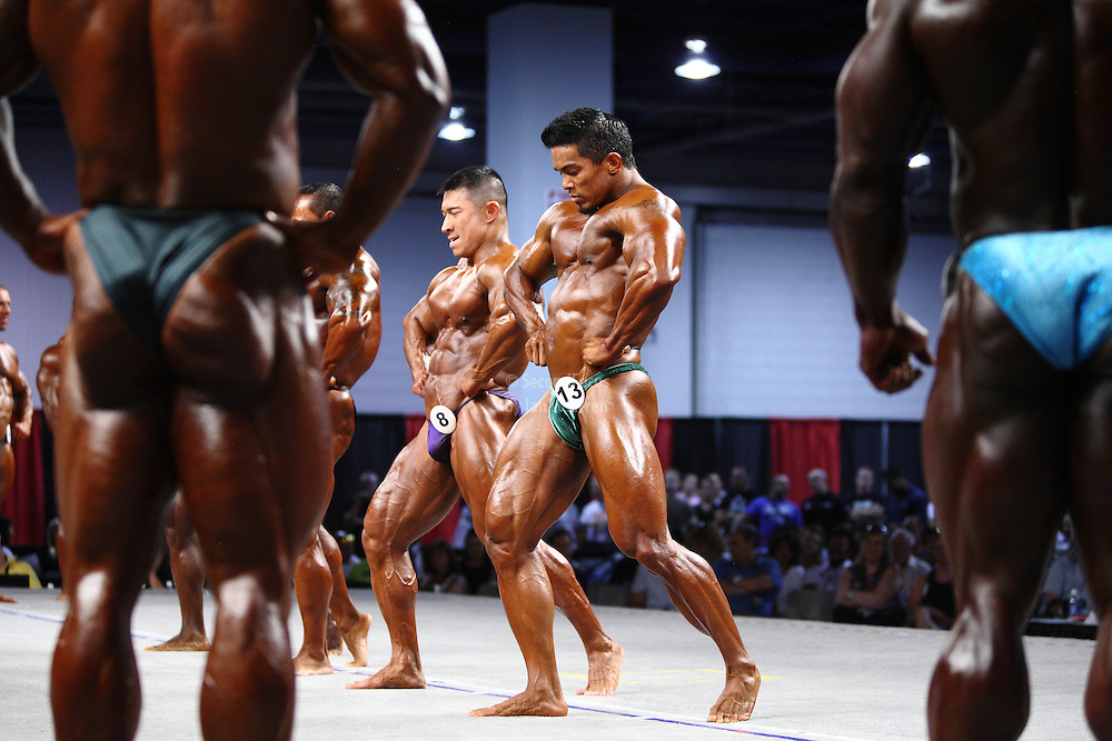 On stage at the pre-judging for the 2009 Olympia 202 competition in Las Vegas..Stan McQuay, Daryl Gee
