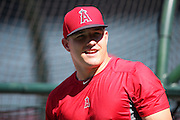 ANAHEIM, CA - JULY 26:  Mike Trout #27 of the Los Angeles Angels of Anaheim smiles during batting practice before the game against the Detroit Tigers at Angel Stadium on Saturday, July 26, 2014 in Anaheim, California. The Angels won the game in a 4-0 shutout. (Photo by Paul Spinelli/MLB Photos via Getty Images) *** Local Caption *** Mike Trout