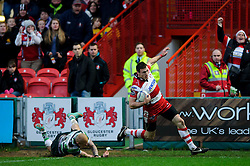Gloucester Winger (#11) Shane Monahan runs in his first try during the first half of the match - Photo mandatory by-line: Rogan Thomson/JMP - Tel: Mobile: 07966 386802 15/12/2012 - SPORT - RUGBY - Kingsholm Stadium - Gloucester. Gloucester Rugby v London Irish - Amlin Challenge Cup Round 4.