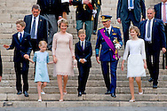 BRUSSELS - 21-7-2016 BRUSSELS, BELGIUM: Princess Claire of Belgium and Prince Laurent of Belgium pictured during the military parade on the Belgian National Day pictured during the military parade on the Belgian National Day,  Prince Emmanuel, Princess Eleonore, Prince Gabriel, Crown Princess Elisabeth, Queen Mathilde of Belgium and King Philippe - Filip of Belgium pictured after the Te Deum mass, on the occasion of today's Belgian National Day, at the Saint Michael and St Gudula Cathedral (Cathedrale des Saints Michel et Gudule / Sint-Michiels- en Sint-Goedele kathedraal) COPYRIGHT ROBIN UTRECHT<br /> <br /> 21-7-2016BRUSSEL, BELGI&Euml;: Prins Emmanuel, prinses Eleonore, Prins Gabri&euml;l, Crown Princess Elisabeth, koningin Mathilde van Belgi&euml; en Koning Philippe - Filip van Belgi&euml; afgebeeld na het Te Deum massa, ter gelegenheid van de hedendaagse Belgische Nationale Dag, op de Sint-Michiel en Sint-Goedele Cathedral (Cath&eacute;drale des Saints Michel et Gudule / Sint-Michiels- en Sint-Goedele kathedraal) COPYRIGHT ROBIN UTRECHT