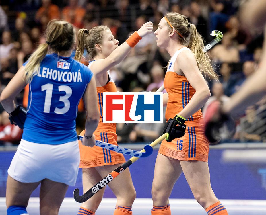 BERLIN - Indoor Hockey World Cup<br /> Quarterfinal 4: Netherlands - Czech Republic<br /> foto: Pien van Nes scored.<br /> WORLDSPORTPICS COPYRIGHT FRANK UIJLENBROEK