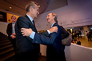 NATO Secretary General Jens Stoltenberg meets his old friend Geir O. Pedersen on the stairs to the Forum at the World Economic Forum in Davos. Norwegian Geir O. Pedersen currently serves as the UN Special Envoy to Syria.