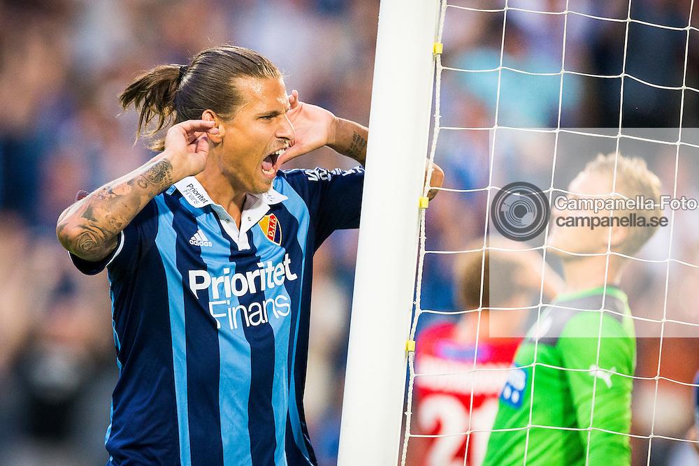 Stockholm 2014-08-04:  <br /> <br /> Djurg&aring;rden 28 Aleksandar Prijovic celebrates scoring the 2-2 equalizing goal against Helsingborgs IF in an Allsvenskan match. <br /> <br /> (Photo: Michael Campanella / Pic-Agency)