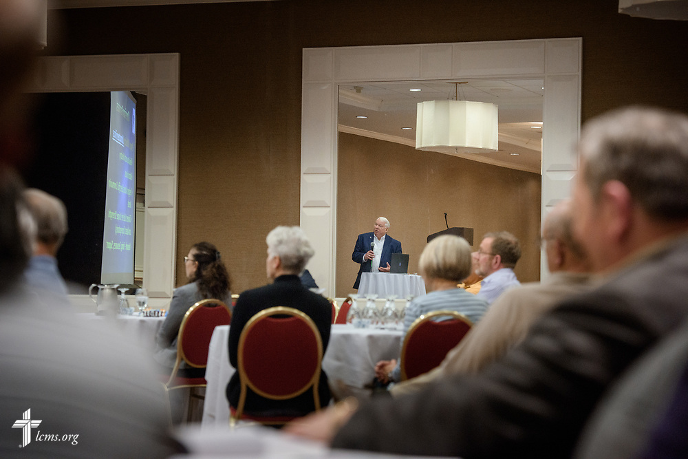 The Rev. Dr. Gary L. Danielsen speaks during the Operation Barnabas conference event on Thursday, March 15, 2018, at the Hilton St. Louis Airport hotel in St. Louis. LCMS Communications/Erik M. Lunsford