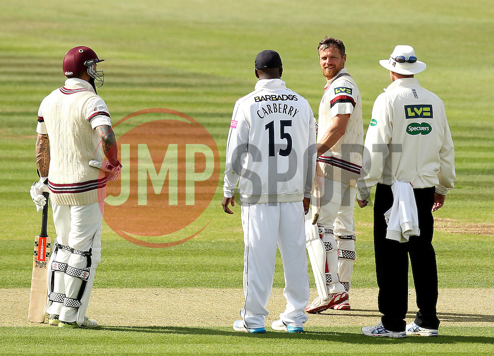 Somerset's James Hildreth smiles after being hit by a short ball - Photo mandatory by-line: Robbie Stephenson/JMP - Mobile: 07966 386802 - 21/06/2015 - SPORT - Cricket - Southampton - The Ageas Bowl - Hampshire v Somerset - County Championship Division One