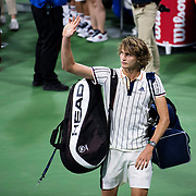 August 30, 2017 - New York, NY : A dejected Alexander Zverev waves to the crowd after being upset by Borna Coric, not visible, in the Grandstand on the third day of the U.S. Open, at the USTA Billie Jean King National Tennis Center in Queens, New York, on Wednesday evening. <br /> CREDIT : Karsten Moran for The New York Times