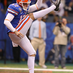 Jan 01, 2010; New Orleans, LA, USA;  Florida Gators punter Chas Henry (17) punts the ball during the 2010 Sugar Bowl at the Louisiana Superdome. Florida defeated Cincinnati 51-24.  Mandatory Credit: Derick E. Hingle-US PRESSWIRE.