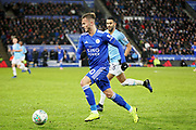 Leicester City midfielder James Maddison (10) on the attack during the quarter final of the EFL Cup match between Leicester City and Manchester City at the King Power Stadium, Leicester, England on 18 December 2018.
