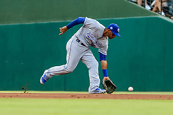 May 25, 2018 - Arlington, TX, U.S. - ARLINGTON, TX - MAY 25: Kansas City Royals second baseman Ramon Torres (46) fields the ball during the game between the Texas Rangers and the Kansas City Royals on May 25, 2018 at Globe Life Park in Arlington, Texas. The Rangers defeat the Royals 8-4. (Photo by Matthew Pearce/Icon Sportswire) (Credit Image: © Matthew Pearce/Icon SMI via ZUMA Press)