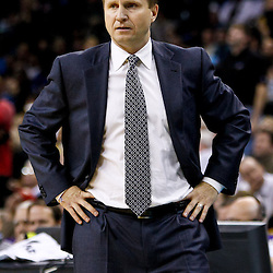 December 10, 2010; New Orleans, LA, USA; Oklahoma City Thunder head coach Scott Brooks during the first half against the New Orleans Hornets at the New Orleans Arena.  Mandatory Credit: Derick E. Hingle-US PRESSWIRE