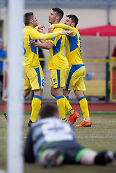 Players of NK Domzale celebrate goal during football match between NK Domzale and NK Aluminij in Round #24 of Prva liga Telekom Slovenije 2017/18, on March 18, 2018 in Sports park Domzale, Domzale, Slovenia. Photo by Urban Urbanc / Sportida