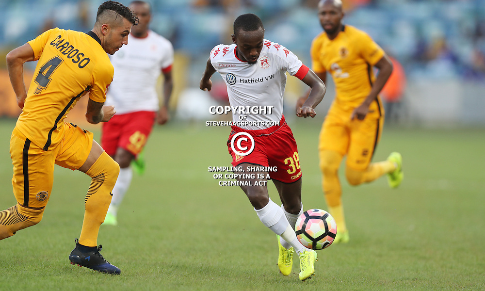DURBAN, SOUTH AFRICA - FEBRUARY 18: Peter Shalulile of Highlands Park during the Absa Premiership match between Kaizer Chiefs and Highlands Park at Moses Mabhida Stadium on February 18, 2017 in Durban, South Africa. (Photo by Steve Haag/Gallo Images)