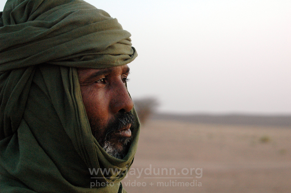 Niger, Agadez, Tidene, 2007. A Tuareg will wear a turban up to four meters long in order to protect him against the Sahara's harsh conditions.