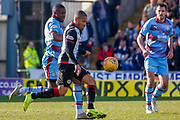 Simeon Jackson of St Mirren wins the ball during the Ladbrokes Scottish Premiership match between St Mirren and Dundee at the Paisley 2021 Stadium, St Mirren, Scotland on 30 March 2019.