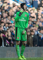 Football - 2016 / 2017 Premier League - Chelsea vs. Arsenal <br /> <br /> Petr Cech of Arsenal call to his team for 2 people in a wall at Stamford Bridge.<br /> <br /> COLORSPORT/DANIEL BEARHAM
