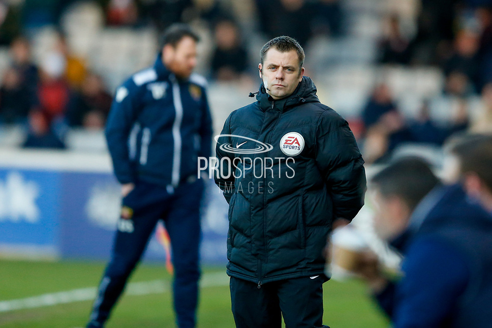 4th official Gareth Rhodes during the EFL Sky Bet League 2 match between Lincoln City and Stevenage at Sincil Bank, Lincoln, United Kingdom on 26 December 2017. Photo by Simon Davies.