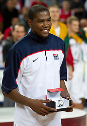MVP player Kevin Durant  of USA celebrates after winning the finals basketball match between National teams of Turkey and USA at 2010 FIBA World Championships on September 12, 2010 at the Sinan Erdem Dome in Istanbul, Turkey.  USA defeated Turkey 81 - 64 and became World Champion 2010. (Photo By Vid Ponikvar / Sportida.com)