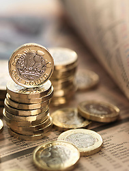 June 8, 2017 - Still life of British currency on financial newspaper, close-up (Credit Image: © Andrew Brookes/Image Source via ZUMA Press)