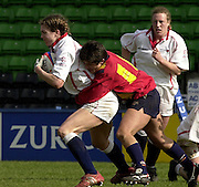 Twickenham. England, Women's International Rugby England v Spain, at the Twickenham Stoop. on 09/03/2003. Nicki JUPP,  tackled with the ball. [Mandatory Credit: Peter Spurrier/ Intersport Images]