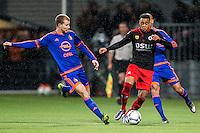 ROTTERDAM - SBV Excelsior - Feyenoord , Voetbal , Seizoen 2015/2016 , Eredivisie , Stadion Woudestein , 28-11-2015 , Excelsior speler Brandley Kuwas (r) in duel met Speler van Feyenoord Simon Gustafson (l)