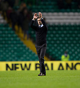 4th April 2018, Celtic Park, Glasgow, Scotland; Scottish Premier League football, Celtic versus Dundee; Dundee manager Neil McCann at the end