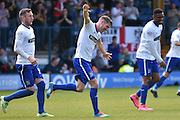 Bury Forward, Ryan Lowe scores ,1-1, during the Sky Bet League 1 match between Bury and Southend United at the JD Stadium, Bury, England on 8 May 2016. Photo by Mark Pollitt.