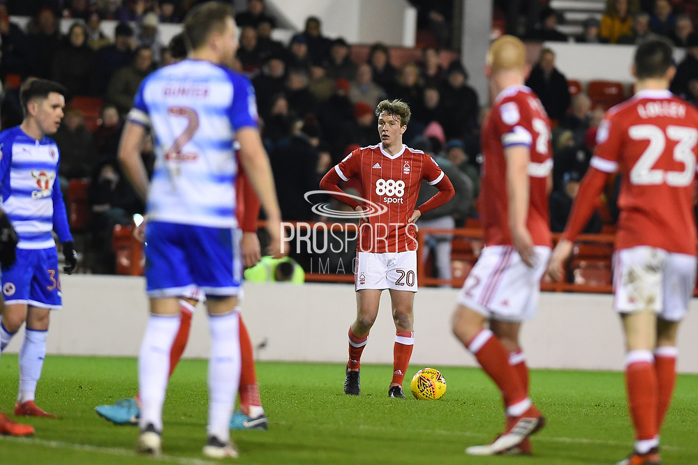 Nottingham Forest midfielder Kieran Dowell (20) lines up a free-kick during the EFL Sky Bet Championship match between Nottingham Forest and Reading at the City Ground, Nottingham, England on 20 February 2018. Picture by Jon Hobley.