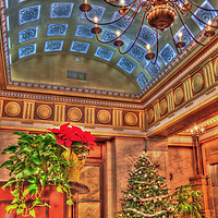 The Holston Building Lobby in downtown Knoxville, Tennessee decorated for Christmas, 2010.