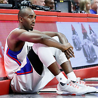 12 December 2016: LA Clippers forward Luc Mbah a Moute (12) waits to enter the game during the LA Clippers 121-120 victory over the Portland Trail Blazers, at the Staples Center, Los Angeles, California, USA.