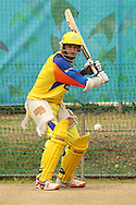 Mike Hussey of the Chennai Super Kings attempts to attack a delivery during the Superkings  training session held at St Georges Park in Port Elizabeth on the 17 September 2010..Photo by: Shaun Roy/SPORTZPICS/CLT20