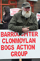06/03/2013. Sean Cunningham Portumna protesting near the court house in Loughrea where turf cutters where up on charges in relation to the cutting of turf in an area of conservation. Picture:Andrew Downes
