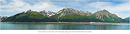 Composite panorama of Resurrection Bay, Seward, and Mount Marathon and the Kenai Mountains on the Kenai Peninsula in Southcentral Alaska. Summer. Afternoon.