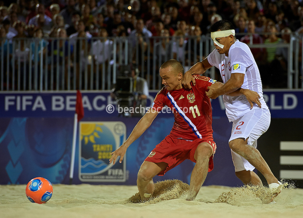 PAPEETE, TAHITI - SEPTEMBER 27:  FIFA Beach Soccer World Cup Tahiti 2013 at Stadium Tahua To´ata  on September 27, 2013 in Papeete, Tahiti. (Photo by Manuel Queimadelos)