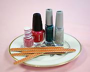 Nail polish and files are available during the 1st grade Mother's Day Spa Day at Sinnott Elementary School in Milpitas, California, on May 10, 2013. (Stan Olszewski/SOSKIphoto)
